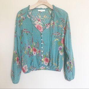 LOVESTITCH floral button down blouse